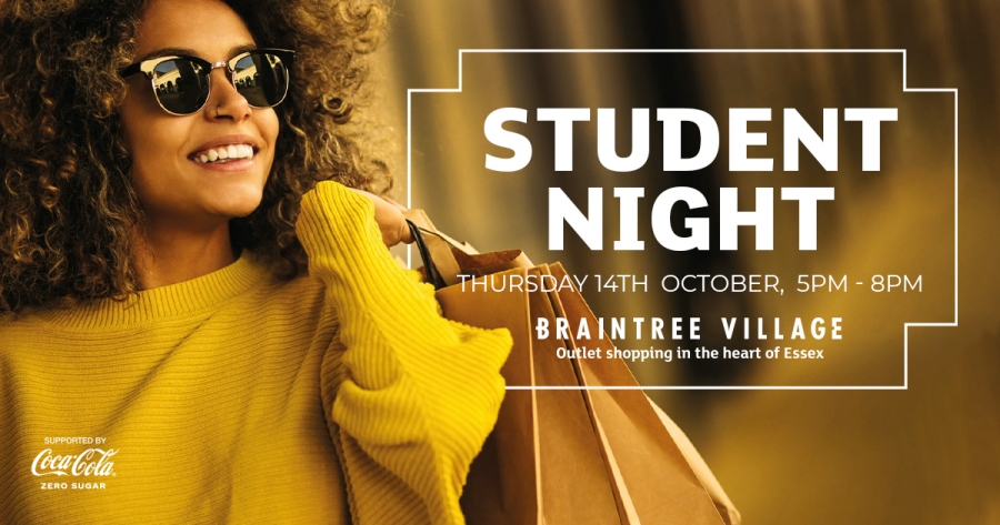 Student Night 2021 banner with smiling dark haired model in a yellow jumper with shopping bags